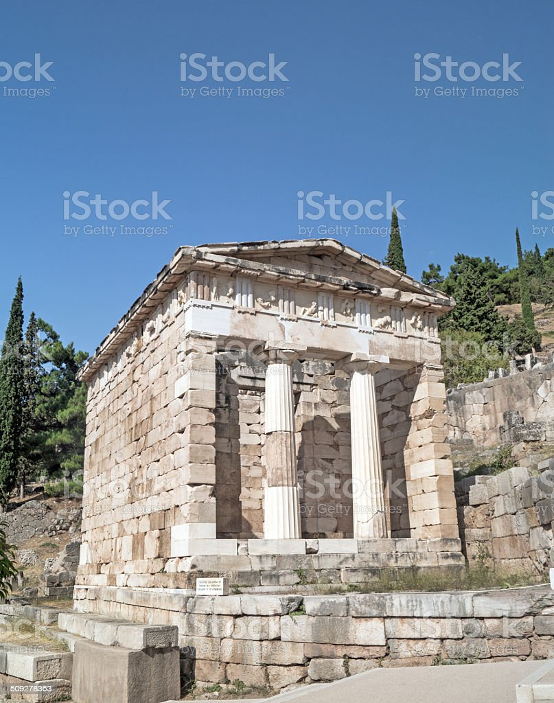 Treasure of the Athenians at Delphi oracle archaeological site stock photo