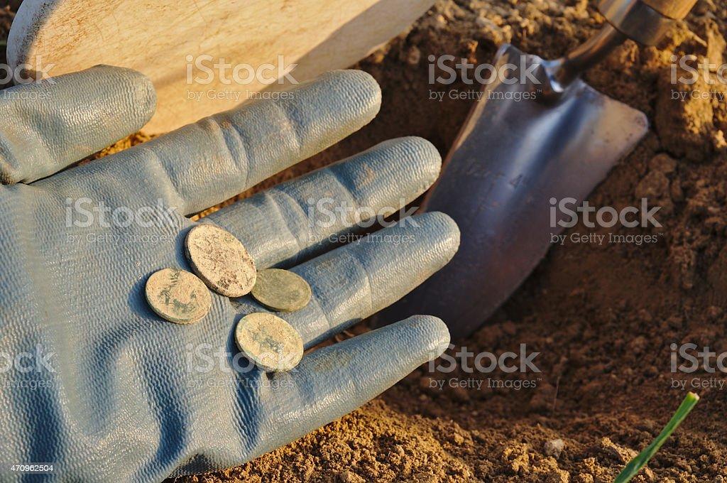 Treasure retrieved metal detecting stock photo