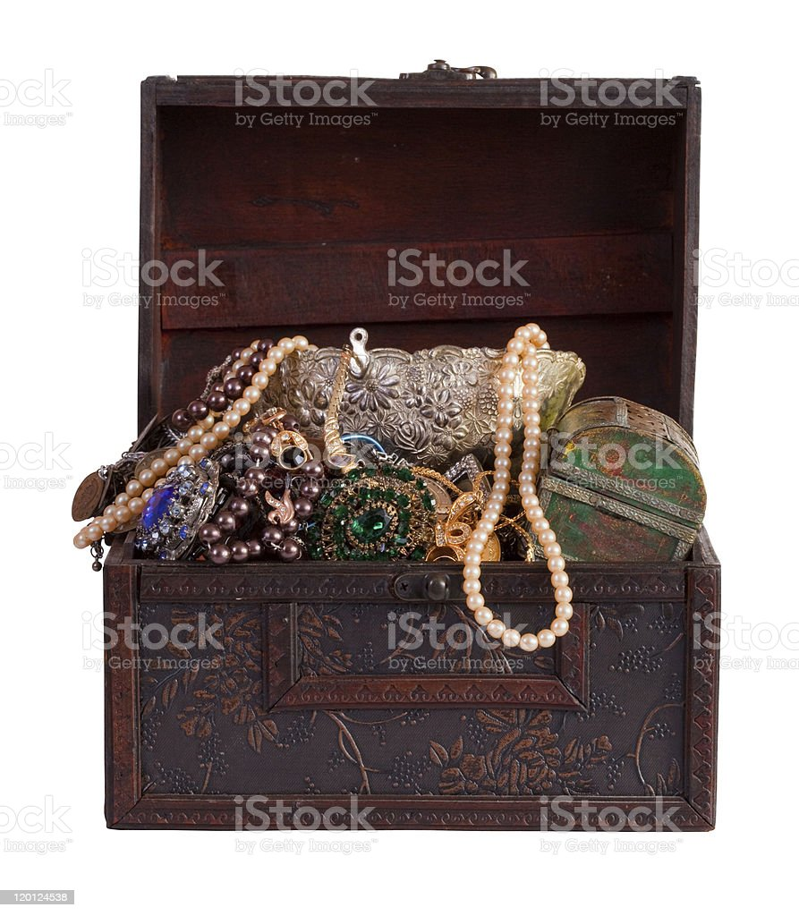 treasure trunk with jewellery royalty-free stock photo