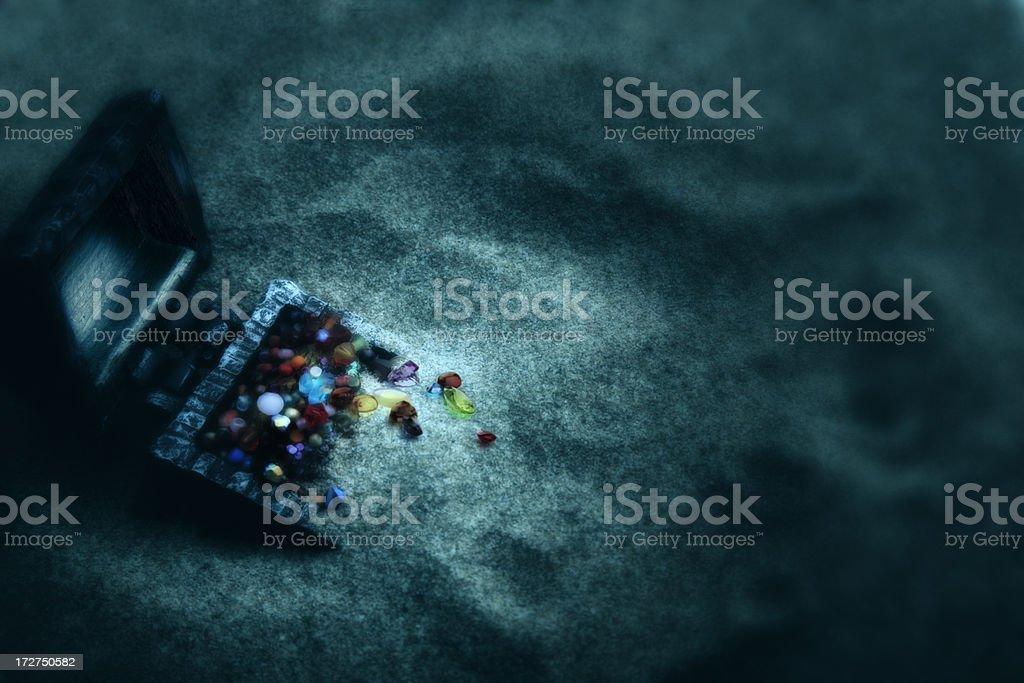 Treasure underwater. stock photo