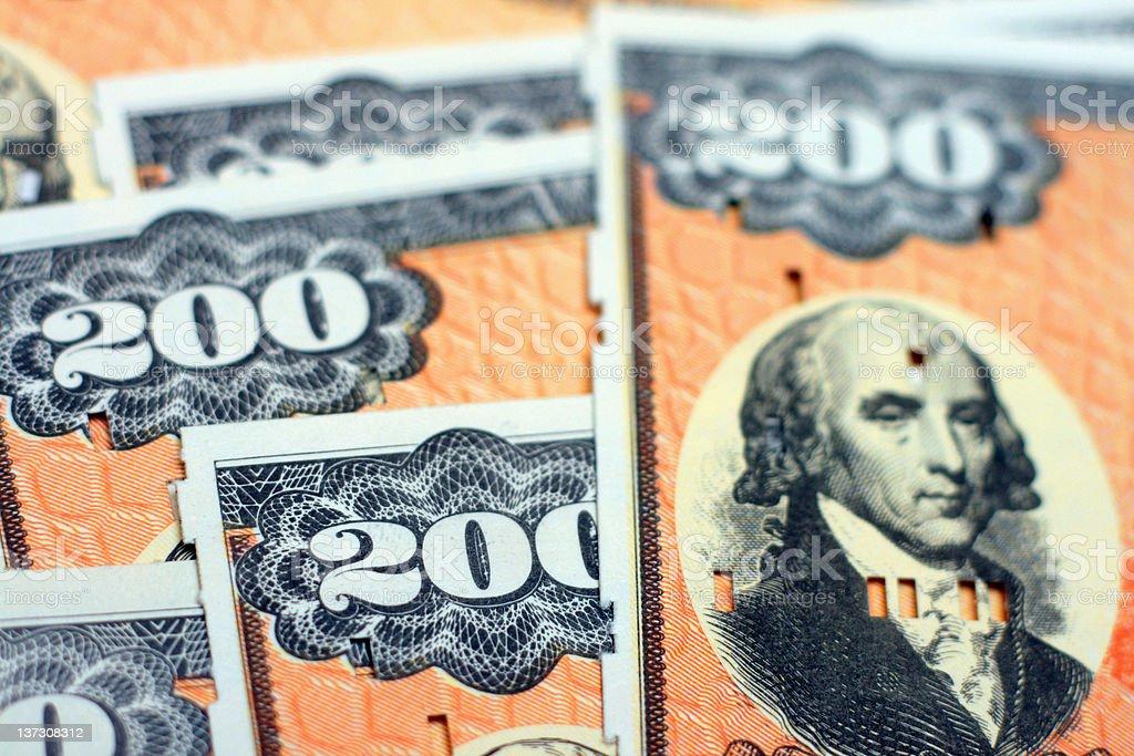 U.S. Treasury (EE Savings) Bonds - Closeup Photo stock photo