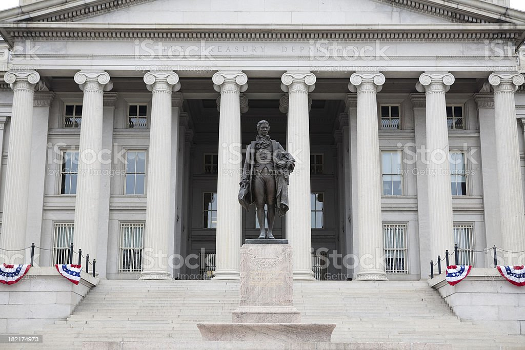 US Treasury Building and Statue, Washington DC stock photo