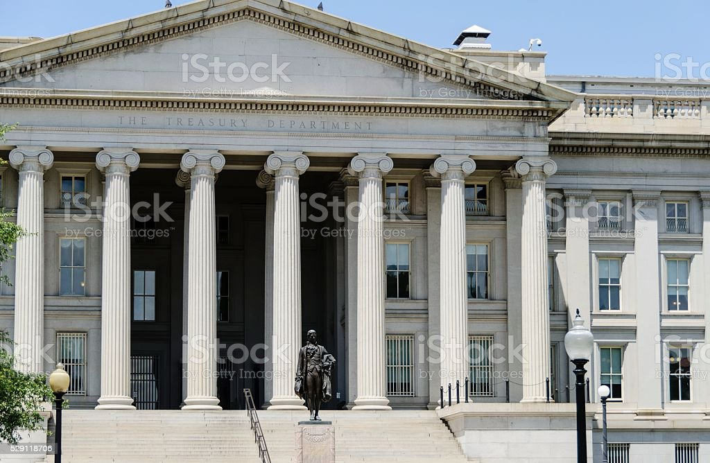 US Treasury Building, Washington DC stock photo