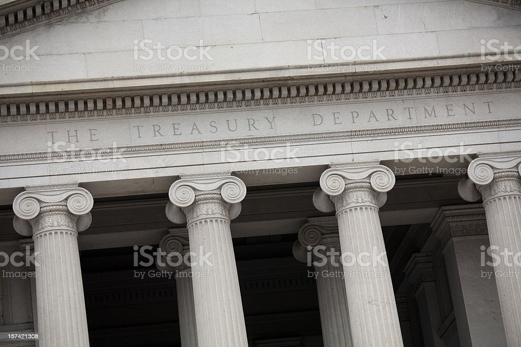 US Treasury Building, Washington DC Slanted Perspective stock photo