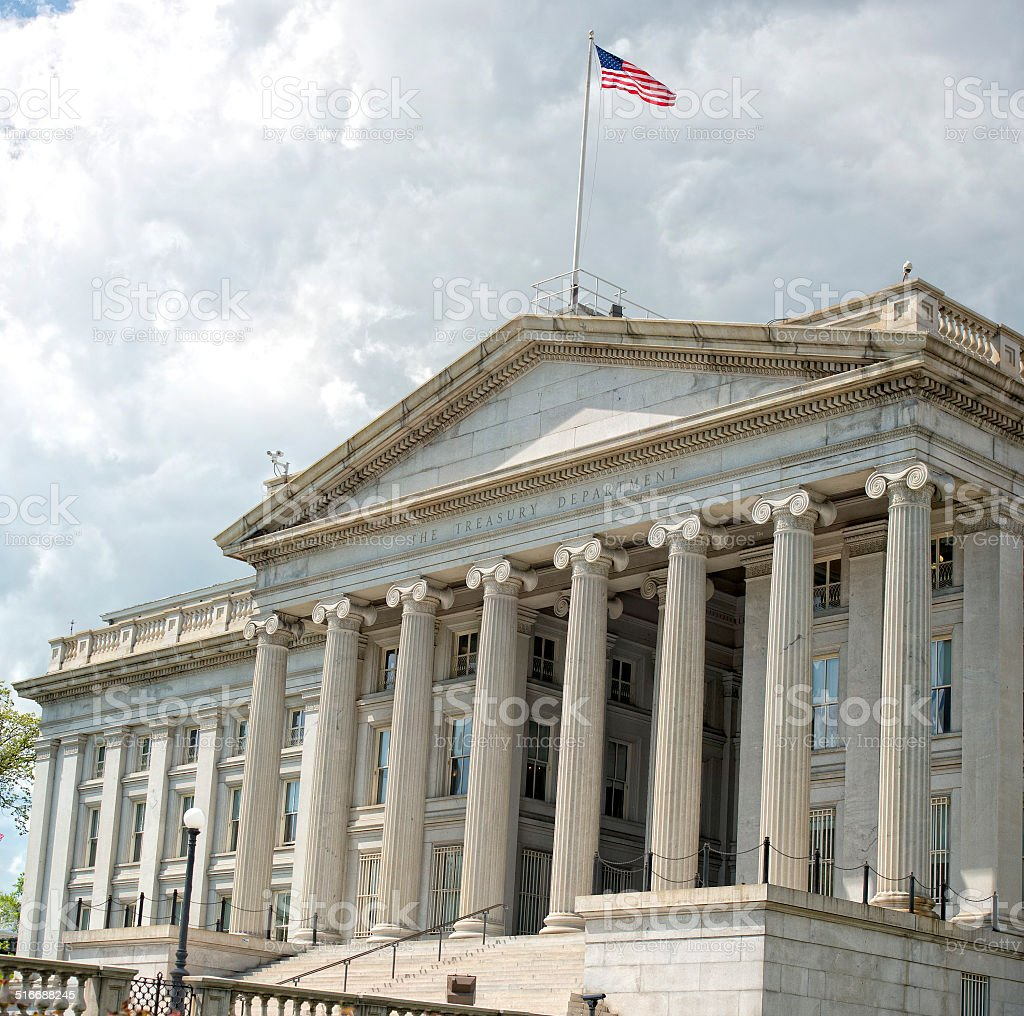 treasury department building in washington DC stock photo