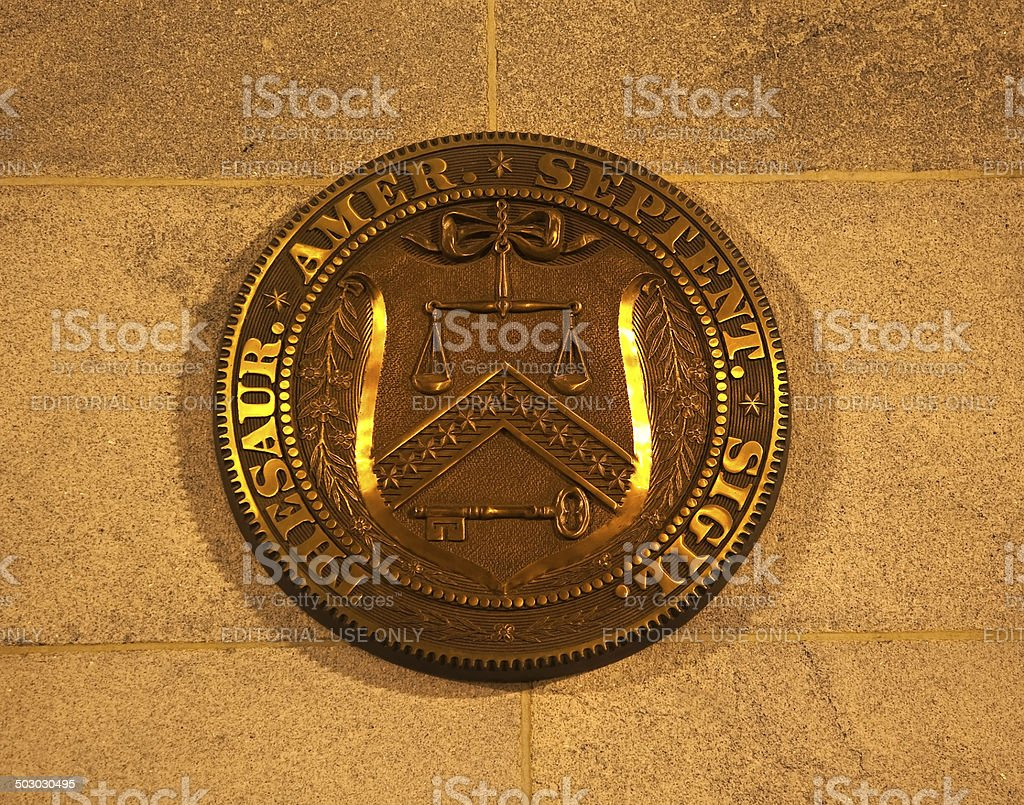 US Treasury Department Seal Washington DC stock photo