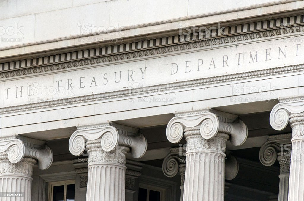 US treasury department sign in Washington DC facade stock photo