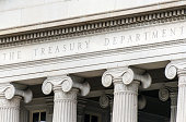 US treasury department sign in Washington DC facade
