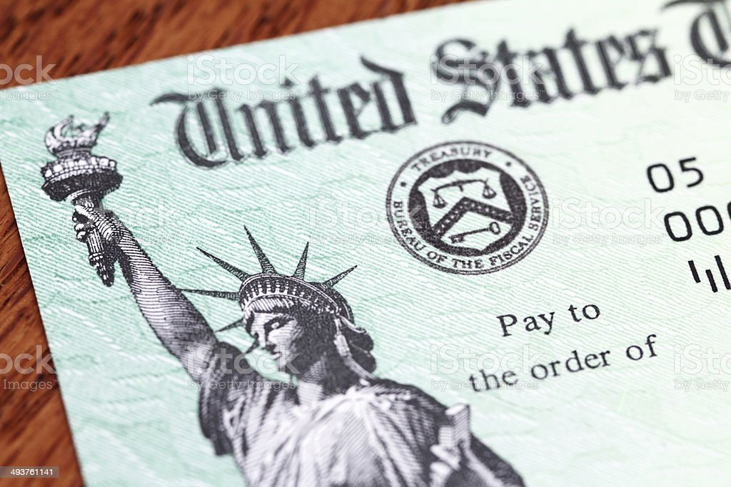 USA Treasury IRS refund check stock photo