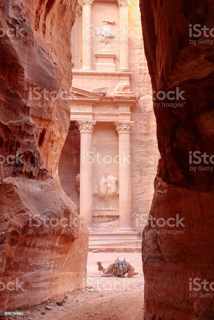 Treasury Kazneh Petra stock photo