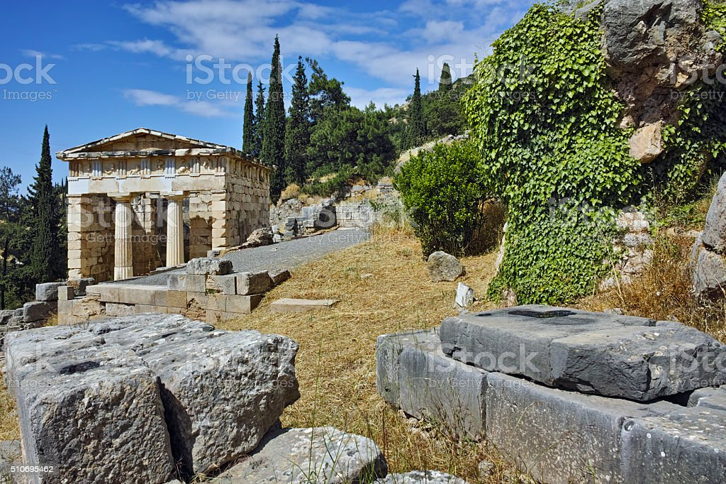 Treasury of Athens in Ancient Greek archaeological site of Delphi stock photo