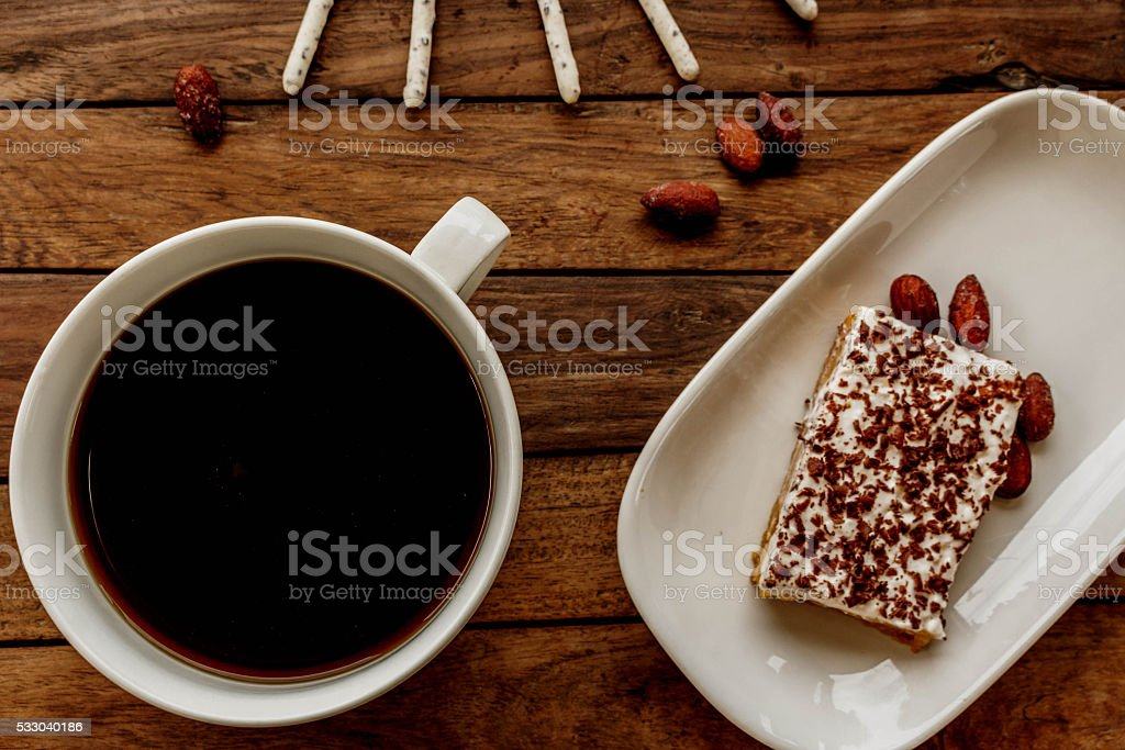 treat for breakfast and hot flavored coffee stock photo