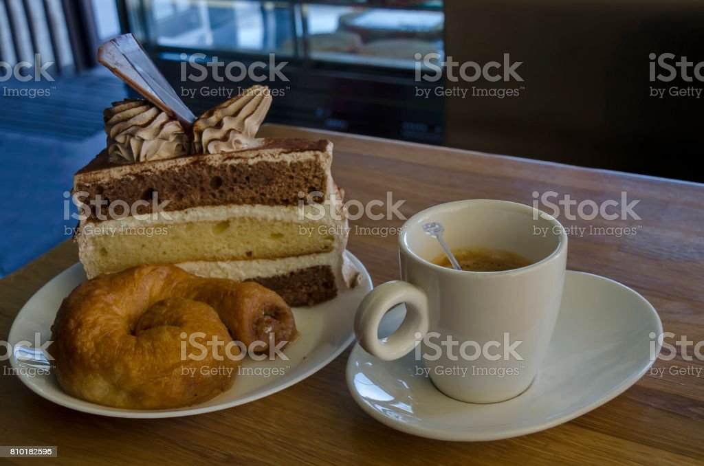 Treat for friend of cake, baklava and coffee stock photo