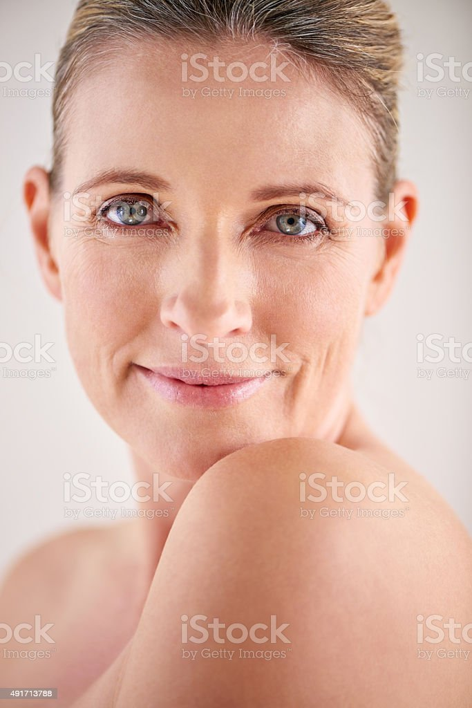 I treat my skin with the care it deserves stock photo
