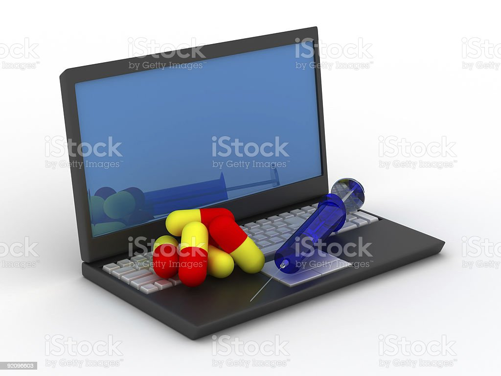 Treatment for computer dependence. Isolated 3D image royalty-free stock photo