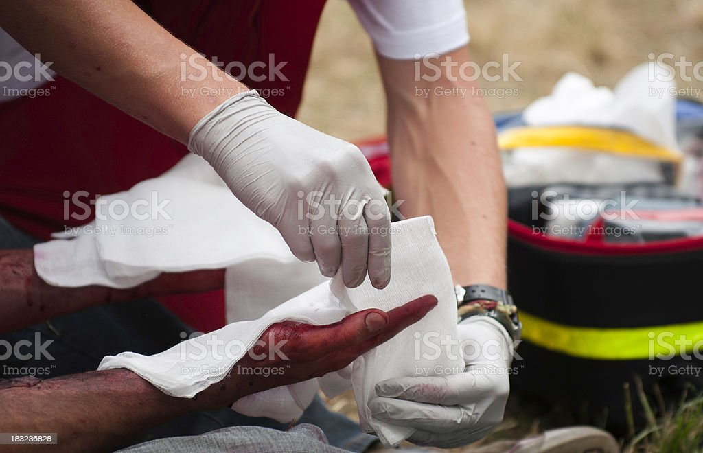 Treatment of hand injury royalty-free stock photo