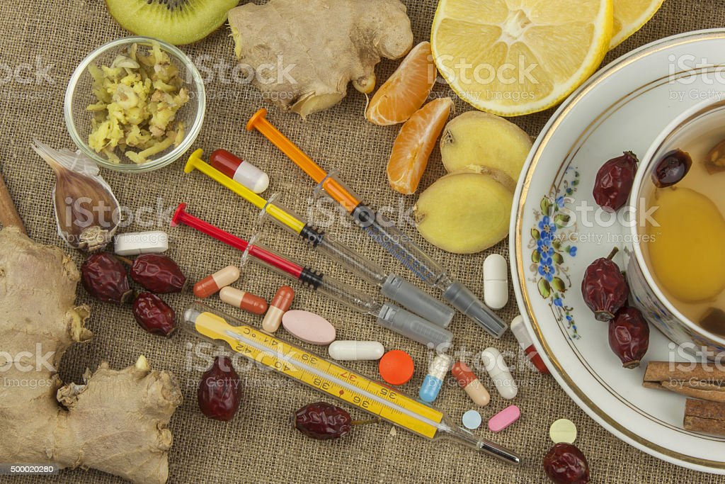Treatment of influenza and colds. stock photo