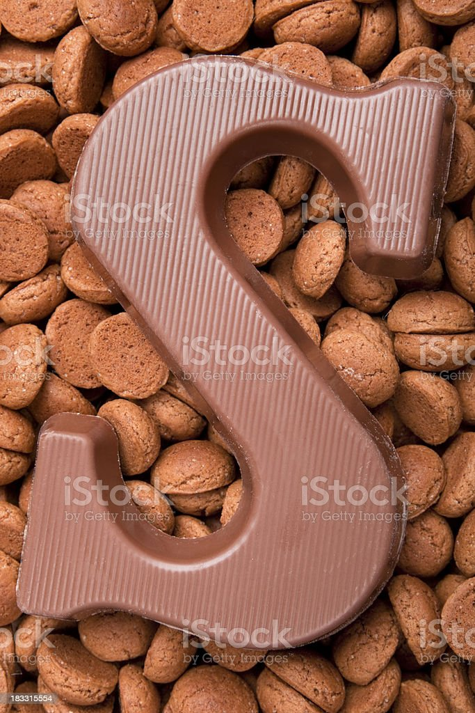 Pepernoten and a letter of chocolate stock photo