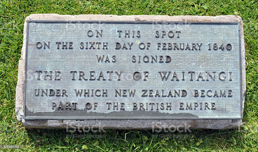 Treaty Grounds sign, Waitangi, New Zealand stock photo