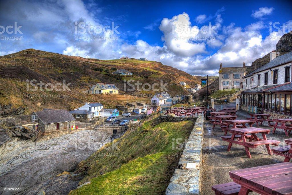 Trebarwith Cornwall England UK coast village in colourful HDR stock photo
