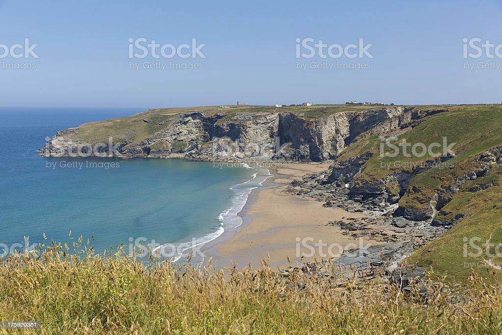 Trebarwith Strand beach Cornwall near Tintagel England UK stock photo