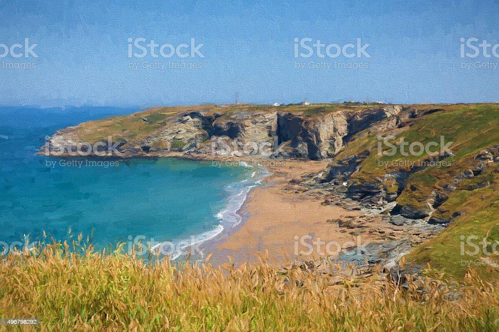 Trebarwith Strand beach Cornwall UK illustration like oil painting stock photo