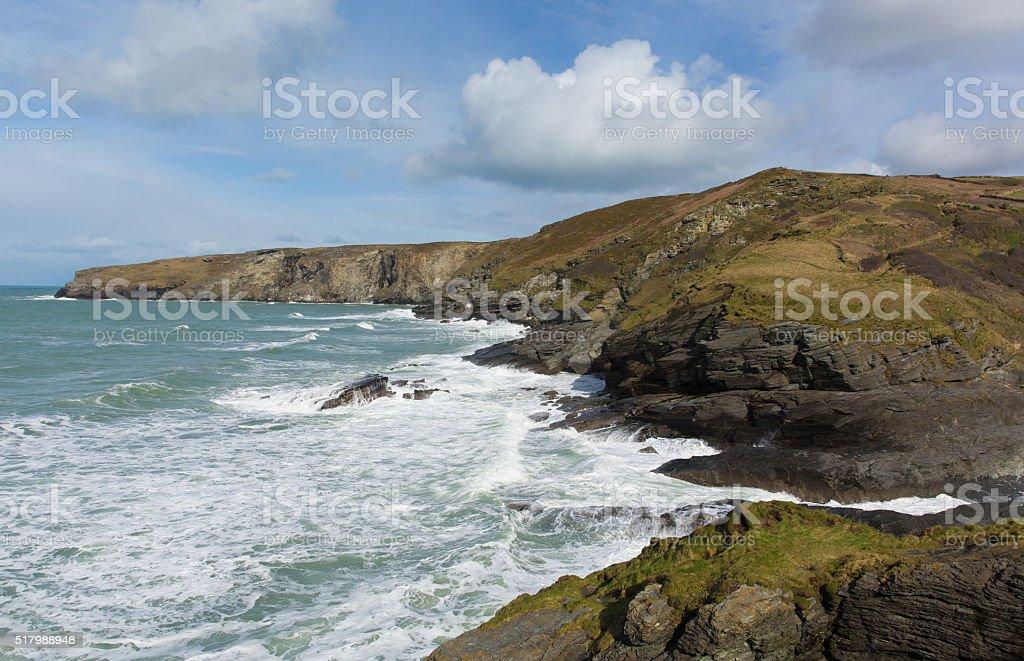 Trebarwith Strand coast North Cornwall England UKwhite waves stock photo