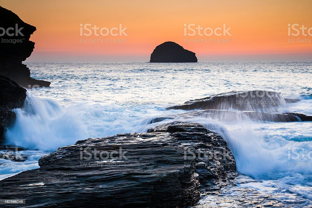Trebarwith Strand Cornwall England stock photo