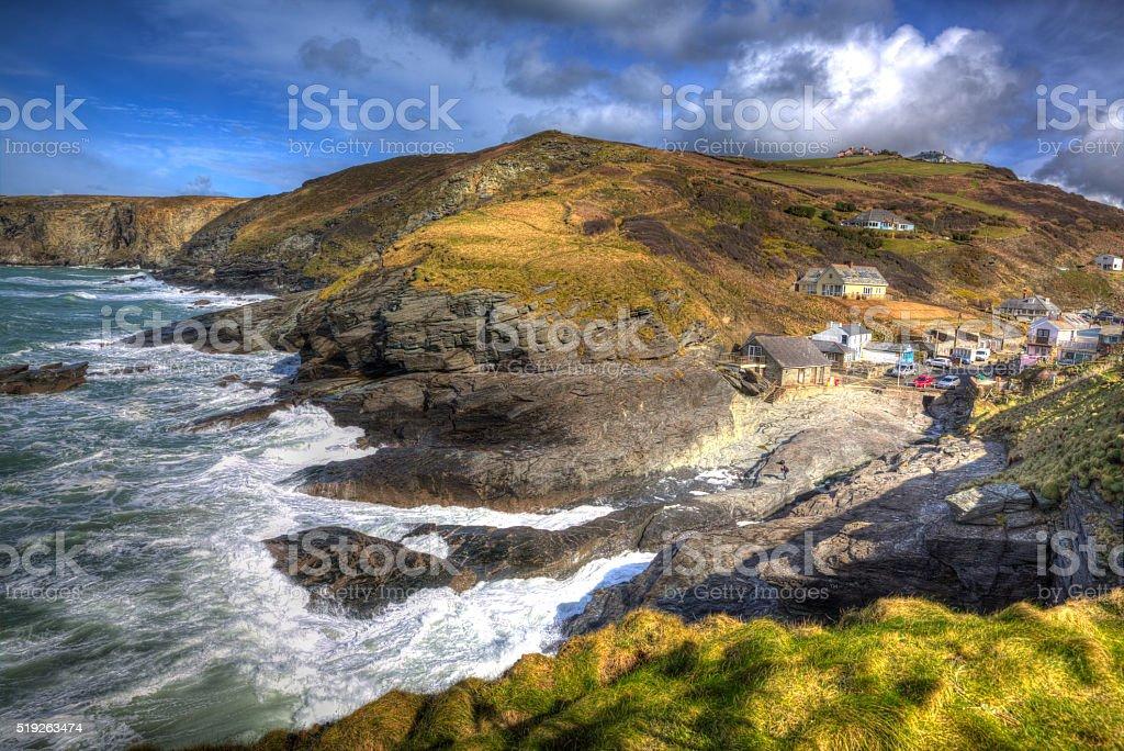 Trebarwith Strand Cornwall England UK coast village in colourful HDR stock photo