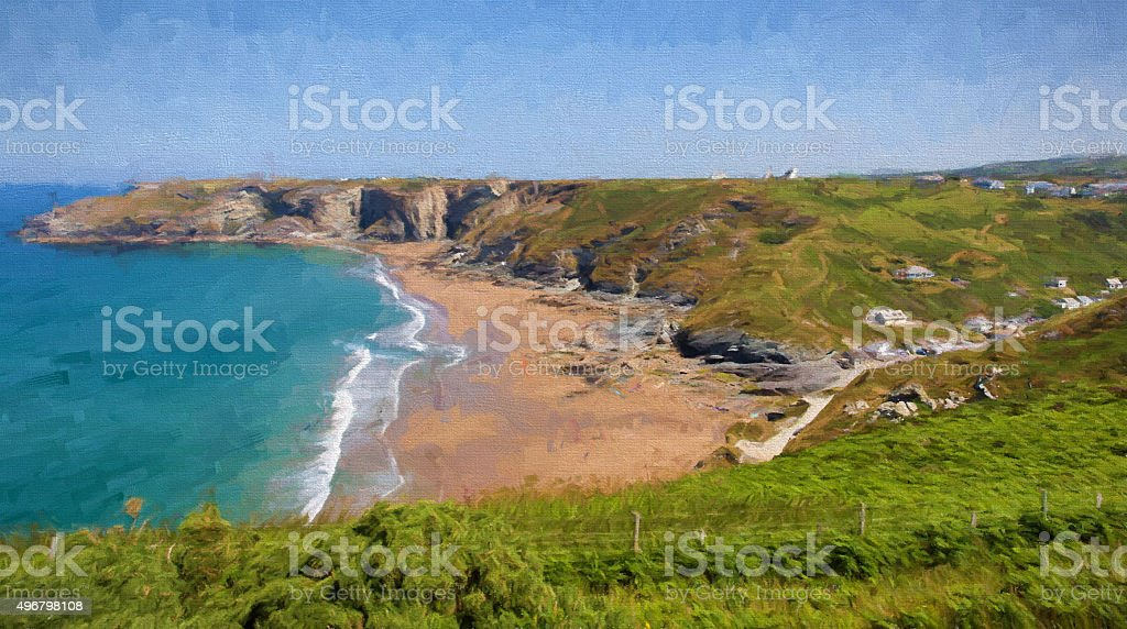 Trebarwith Strand Cornwall UK illustration like oil painting stock photo