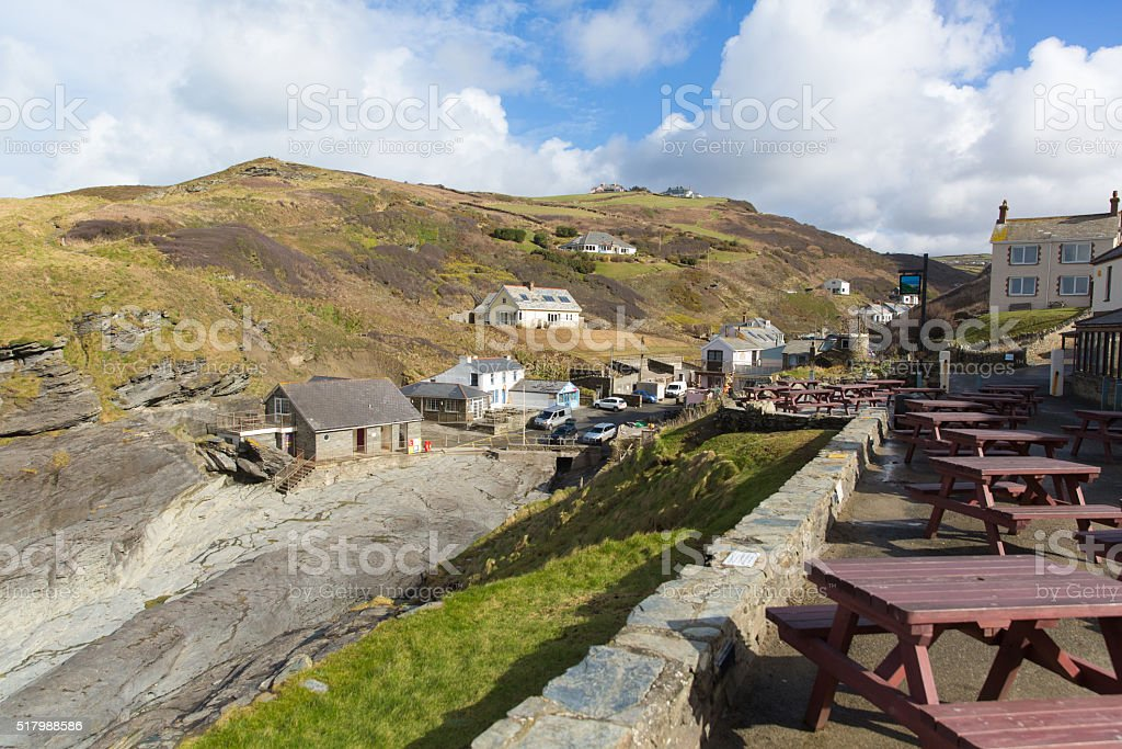 Trebarwith Strand North Cornwall England UK coast village stock photo