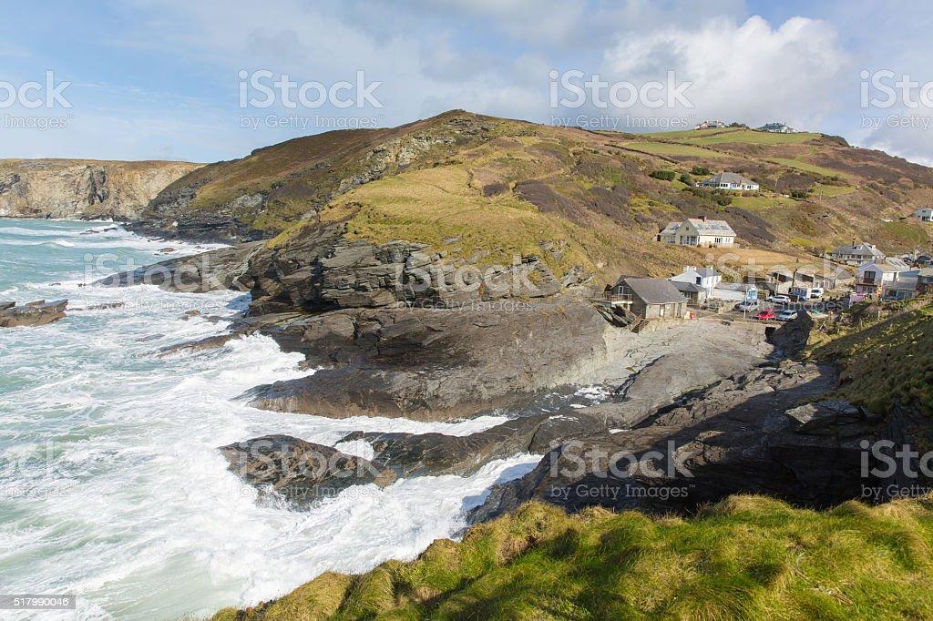 Trebarwith Strand North Cornwall England UK coast village white waves stock photo