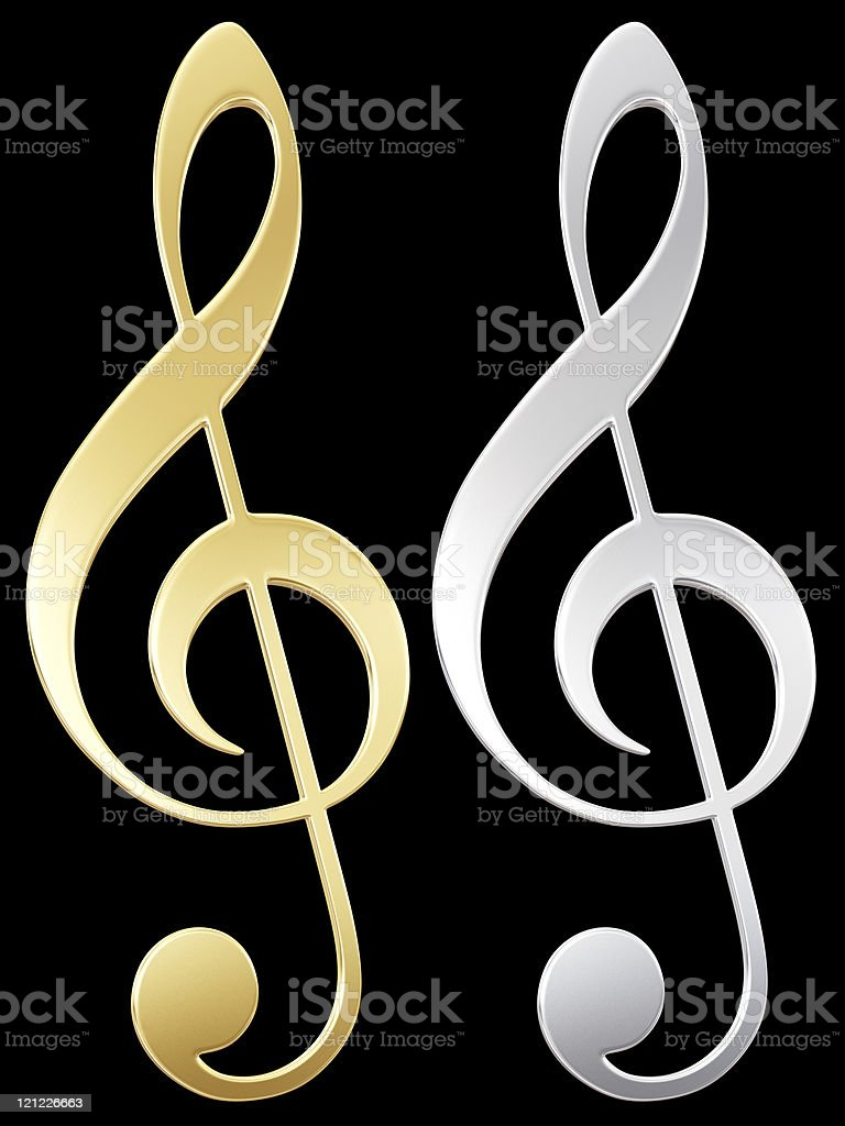 Treble clef. Golden and silver note royalty-free stock photo