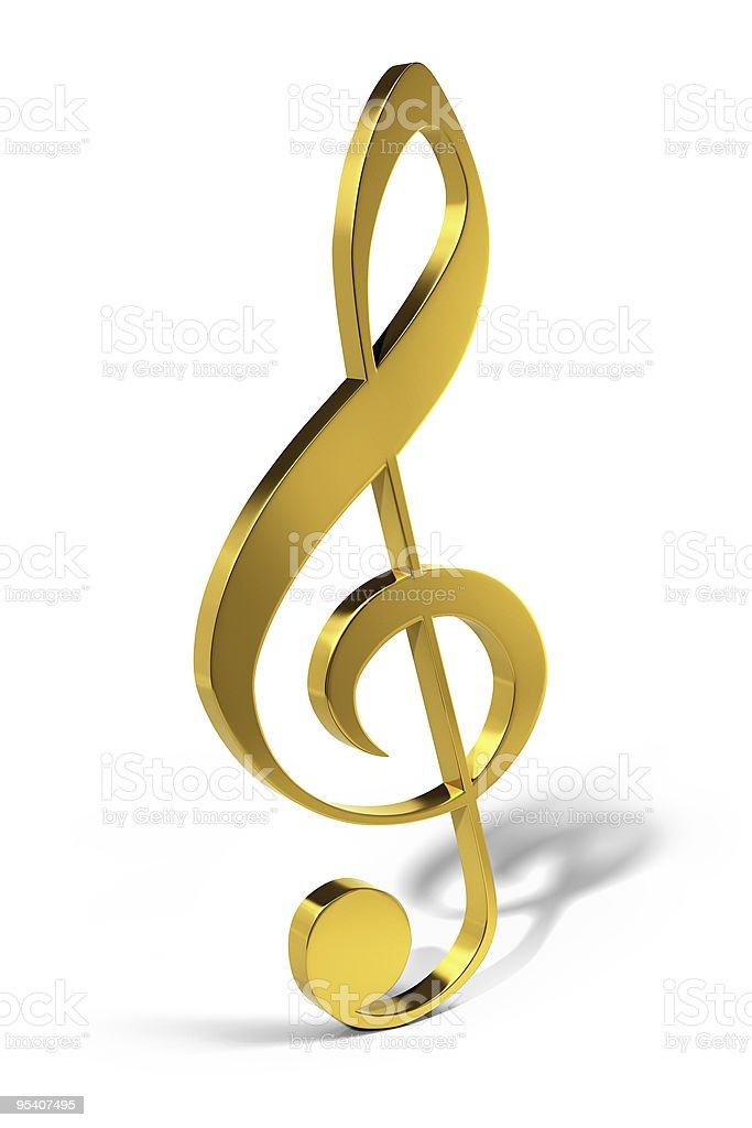Treble clef, golden musical note stock photo