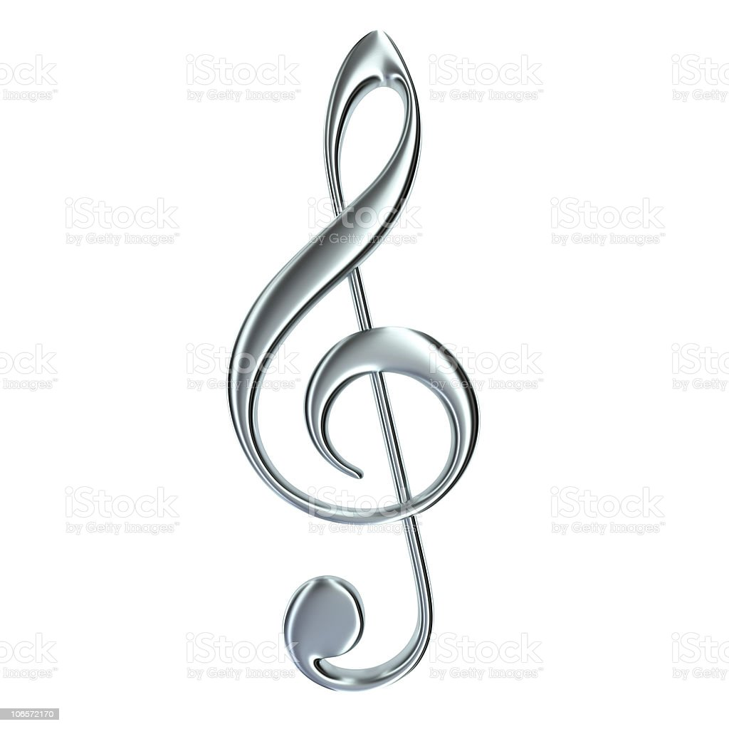 treble clef isolated stock photo