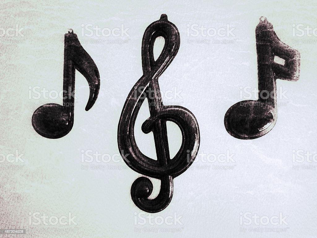 Treble Clef, Quaver, Semiquaver, Quarter Note, Musical Symbols Arrangement stock photo