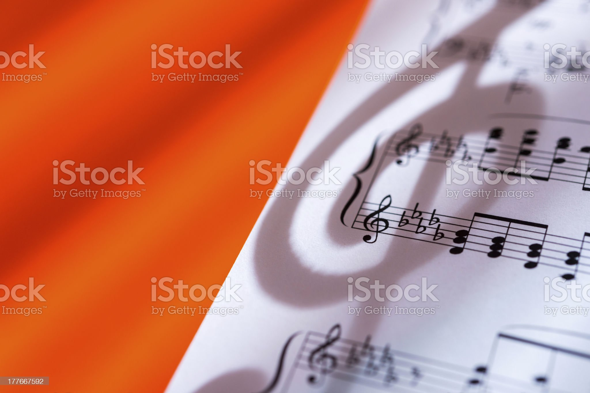 Treble Clef shadow on music sheet royalty-free stock photo