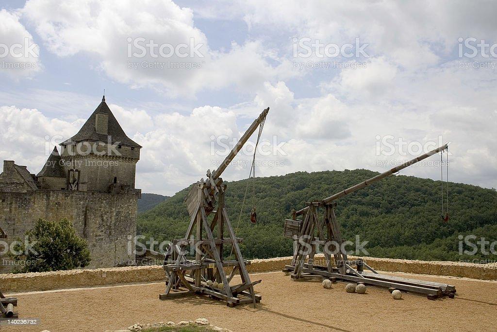 Trebuchets in Castelnaud, France stock photo