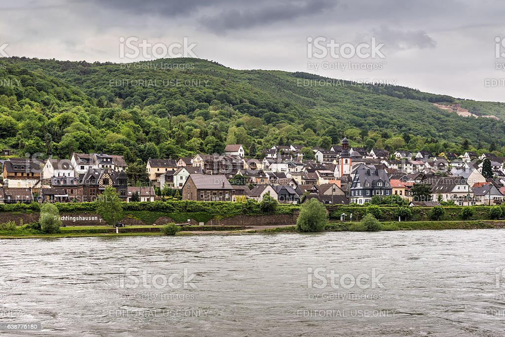 Trechtingshausen village in the Unesco World Heritage area of th stock photo