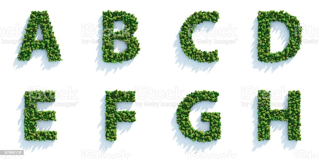 Tree Alphabet Part 01: Top View royalty-free stock photo