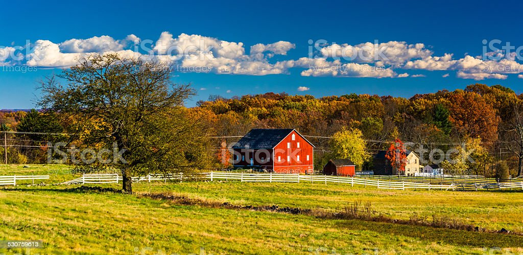 Tree and barn on the battlefield at Gettysburg, Pennsylvania. stock photo