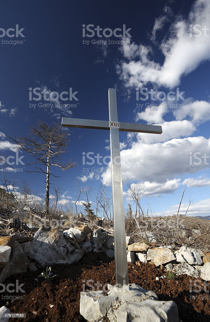 Tree and Cross royalty-free stock photo