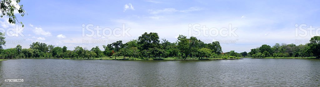 Tree and Lagoons Panorama View stock photo