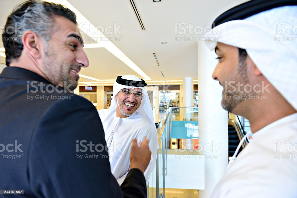 Tree arab businessmen meeting stock photo