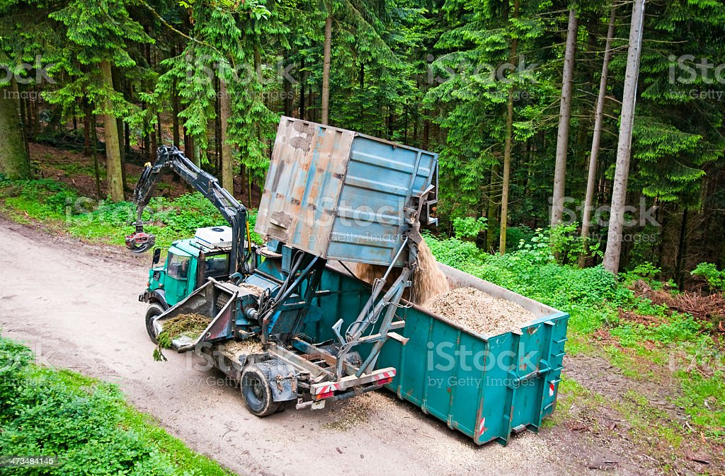 Tree chipper truck wood chips container forest logging stock photo