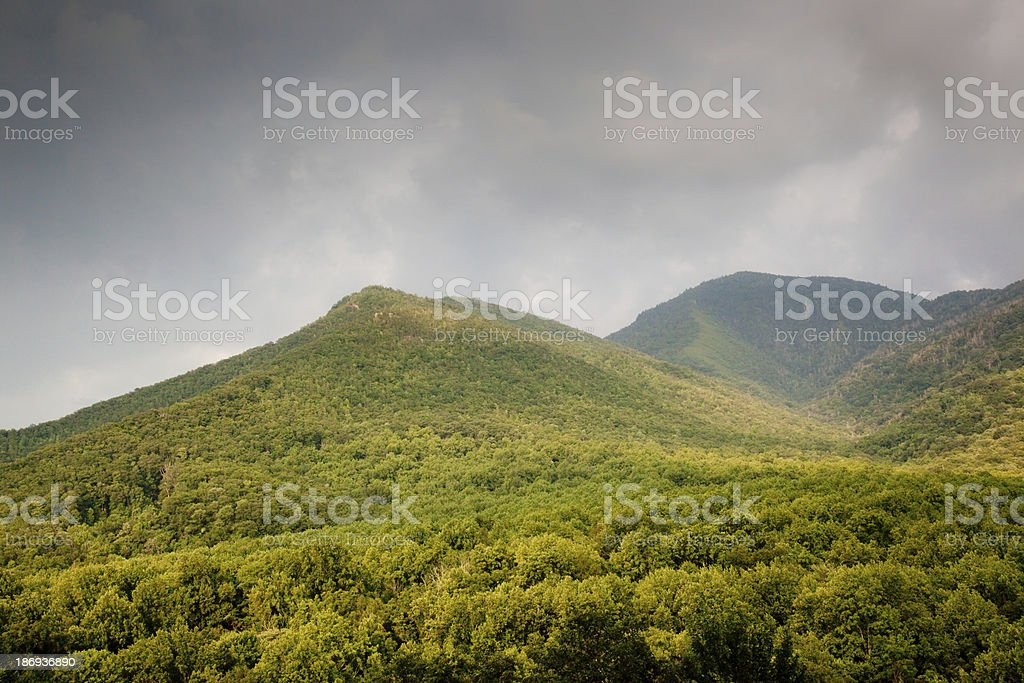 Tree covered mountains and a cloudy sky royalty-free stock photo