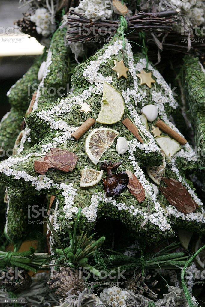 Tree Decorations at a Christmas Market stock photo