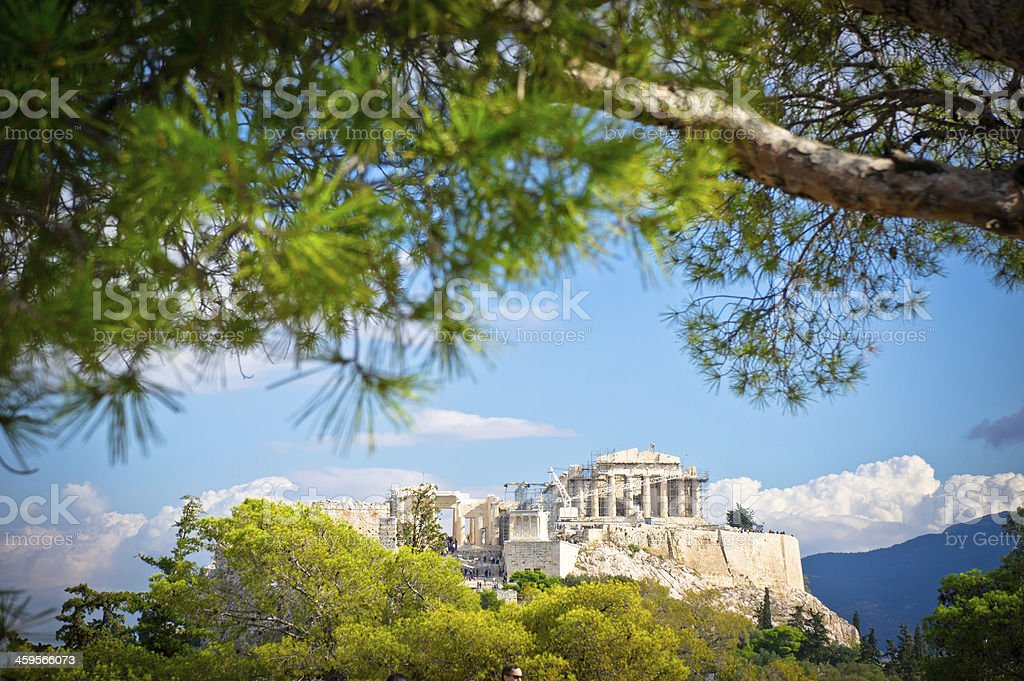 Tree framed view of ancient Acropolis in Athens Greece stock photo