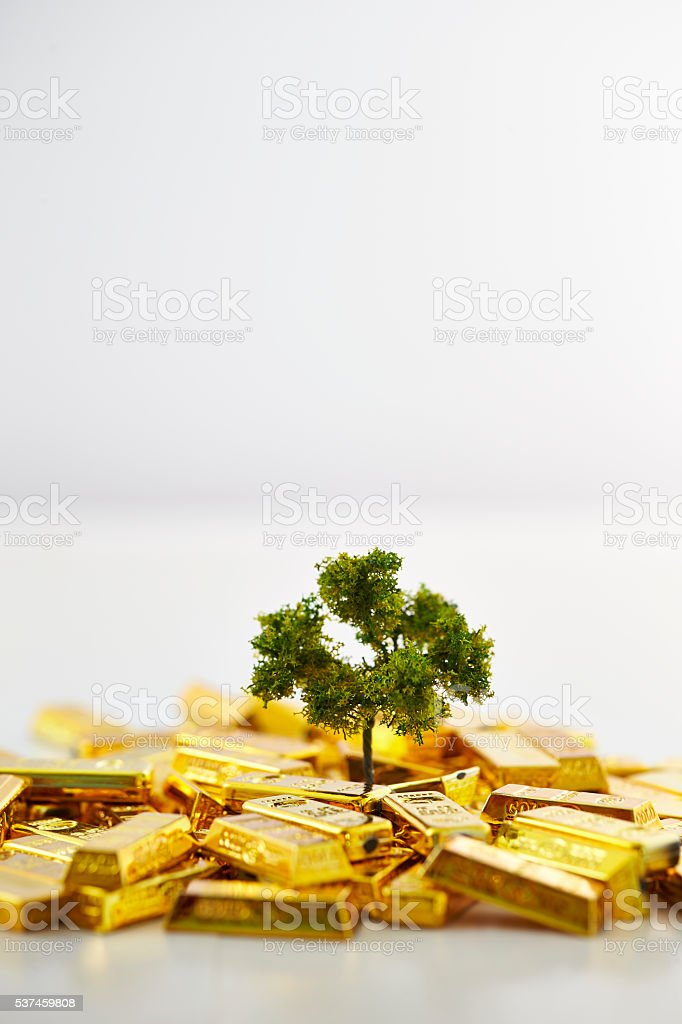 Tree growing from gold bars stock photo