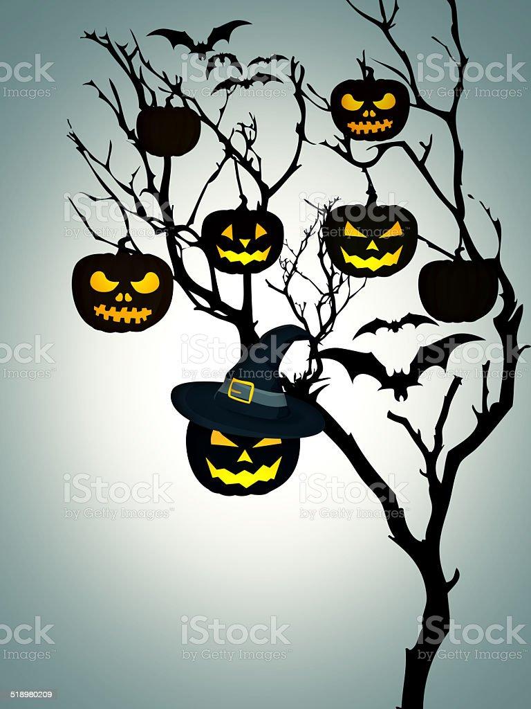 Tree Halloween Pumpkins Bats White Background stock photo